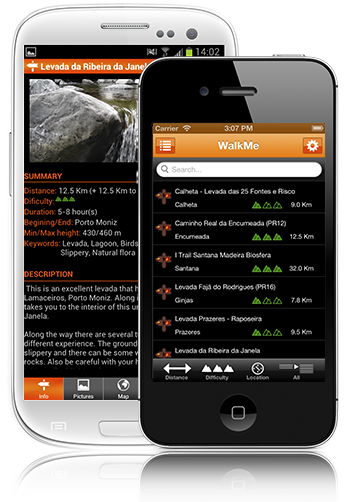 WalkMe is a mobile guide for iPhone and Android that will help every walker discover the beautiful Levadas of Madeira Island and the Azores walking trails.